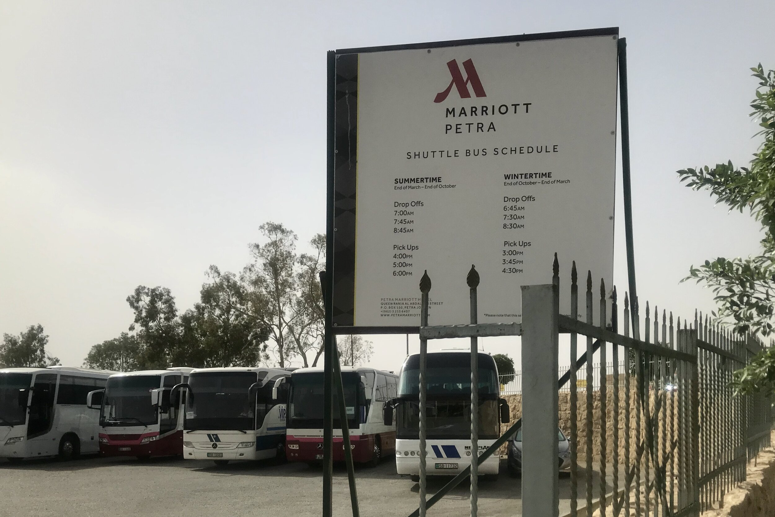 Marriott Petra – Shuttle bus schedule