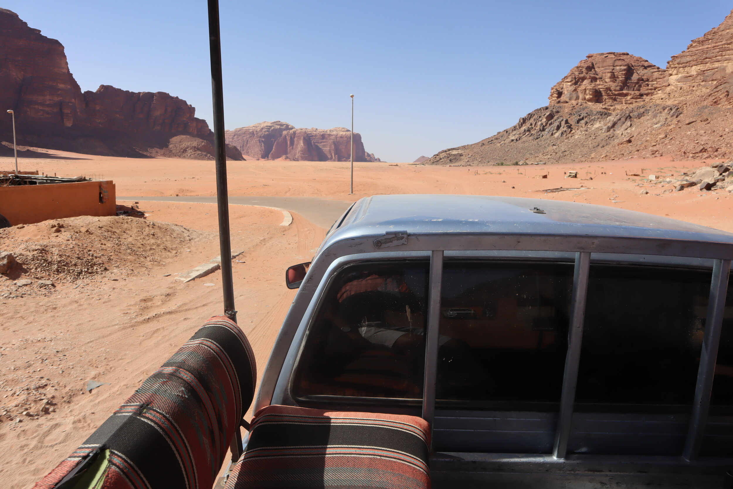 Driving into Wadi Rum Protected Area