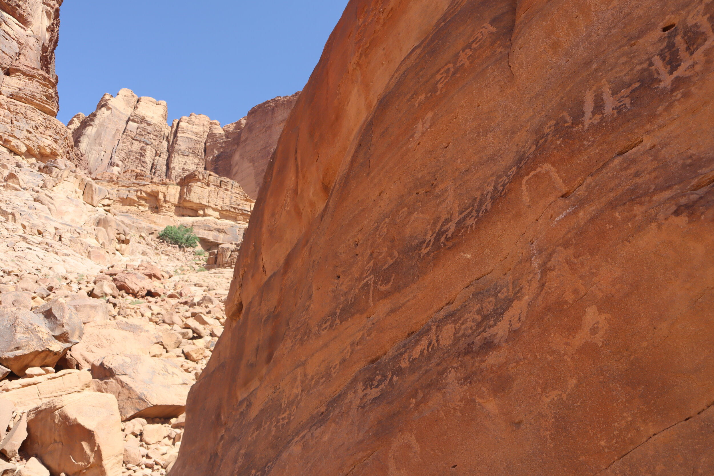 Nabatean inscriptions on the rocks