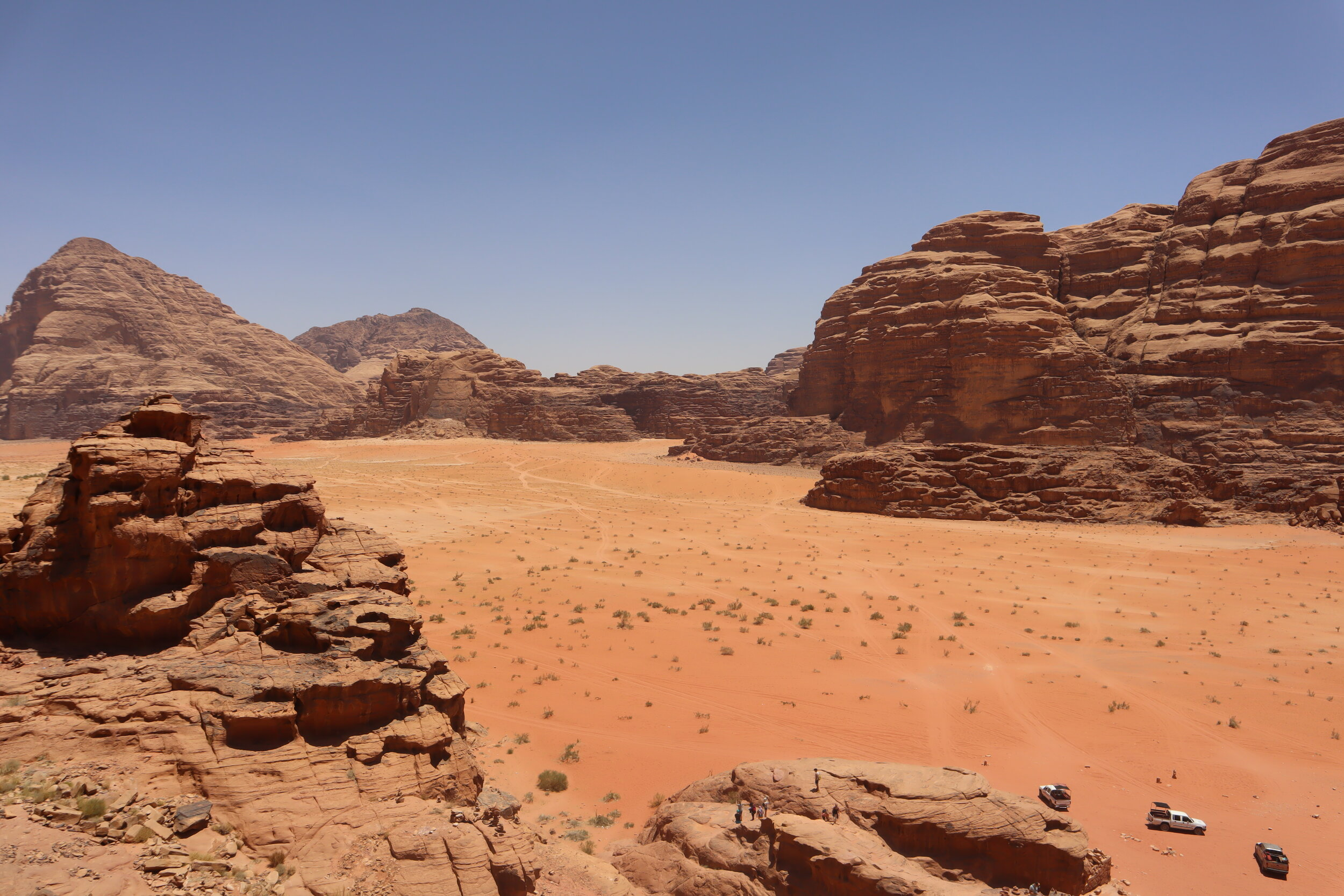 View from atop the rocks of Wadi Rum