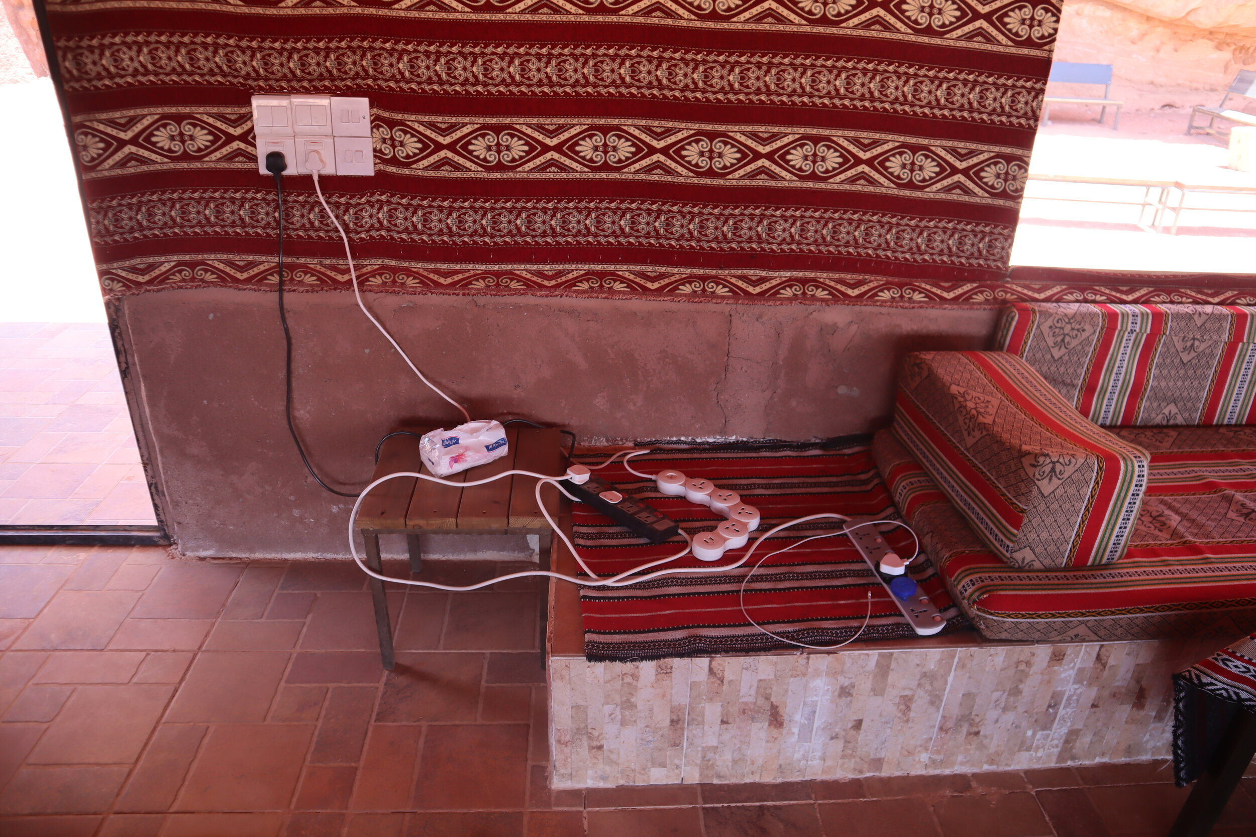 Wadi Rum Bedouin Camp – Common tent charging station