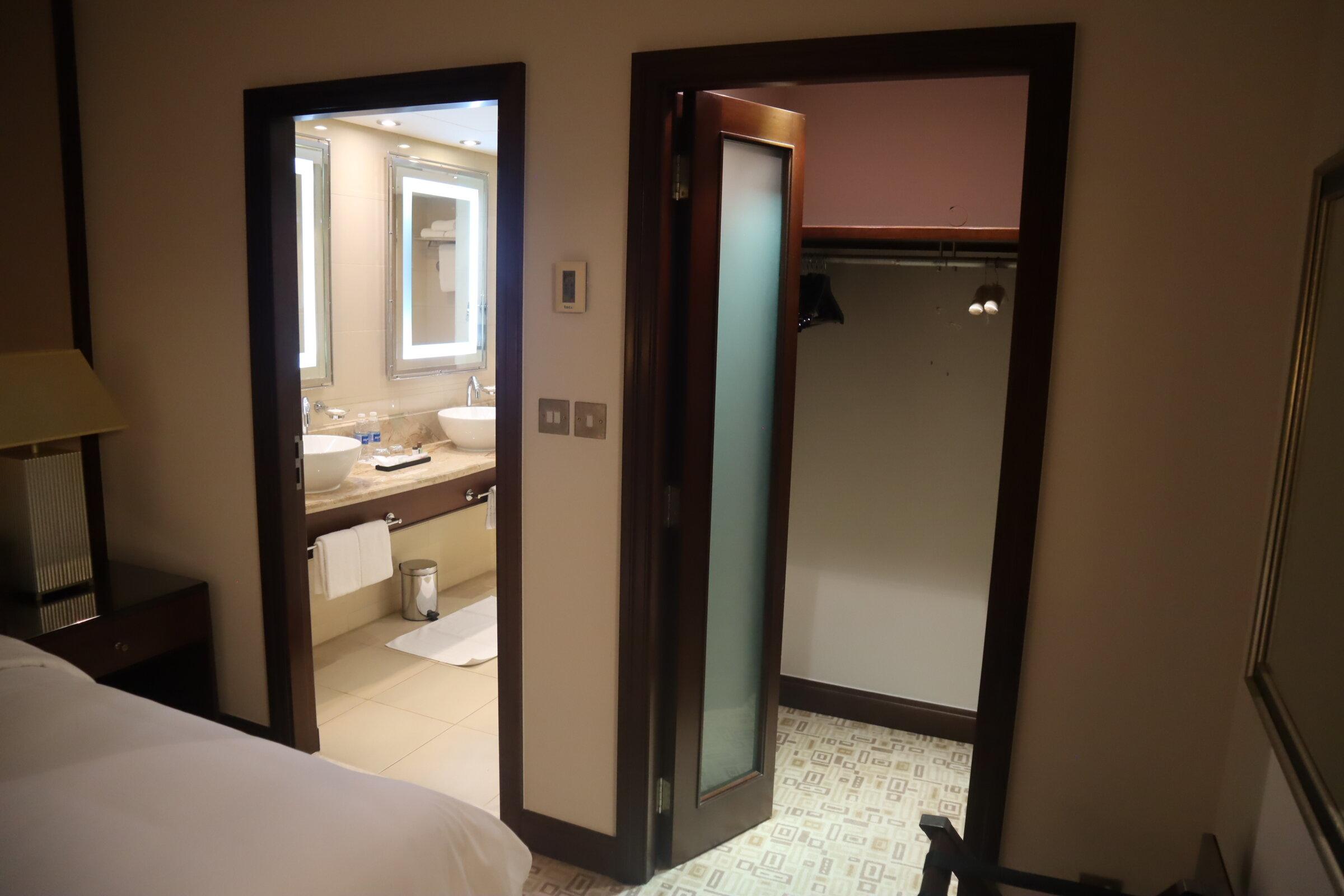 Sheraton Oman – Studio Suite closet and bathroom