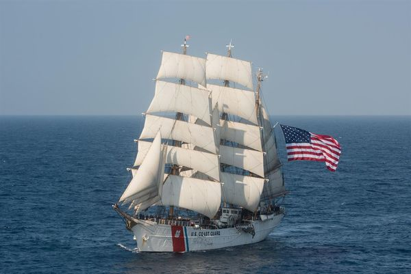 Barque Eagle, the Coast Guard Academy's sail training ship, in service since 1946.