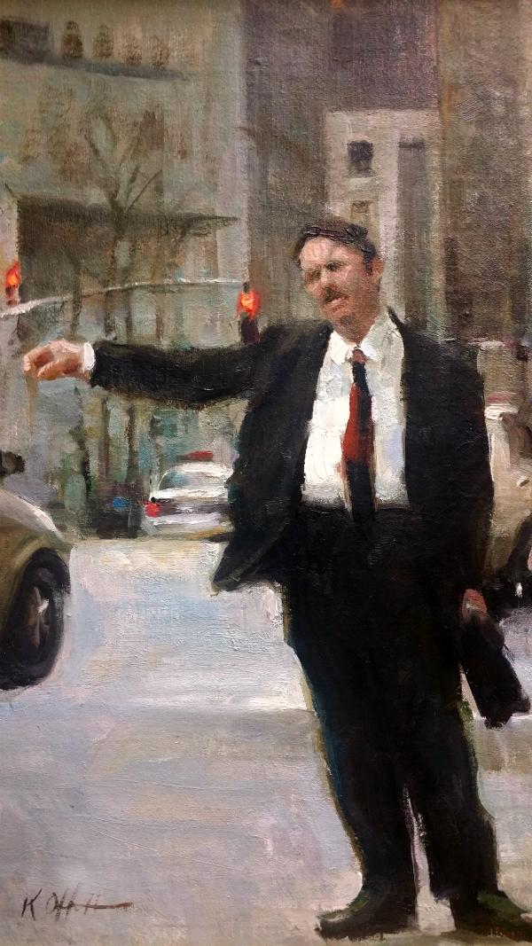 "Hailing a Cab, 15""x12"", oil on canvas"