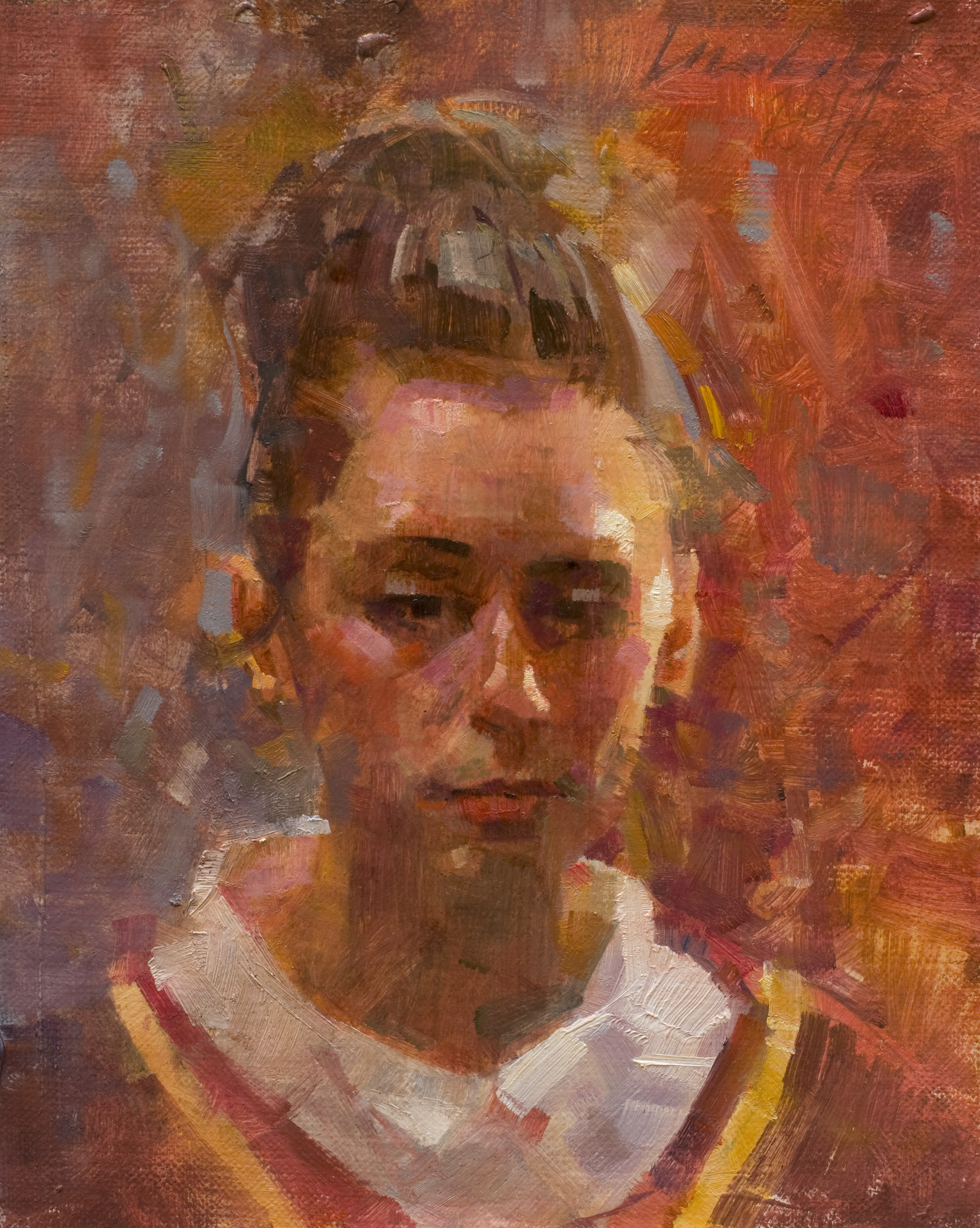"""HEAD OF YOUNG WOMAN IN RENAISSANCE COSTUME Oil on Linen mounted on Panel 8"""" x 6.5"""""""