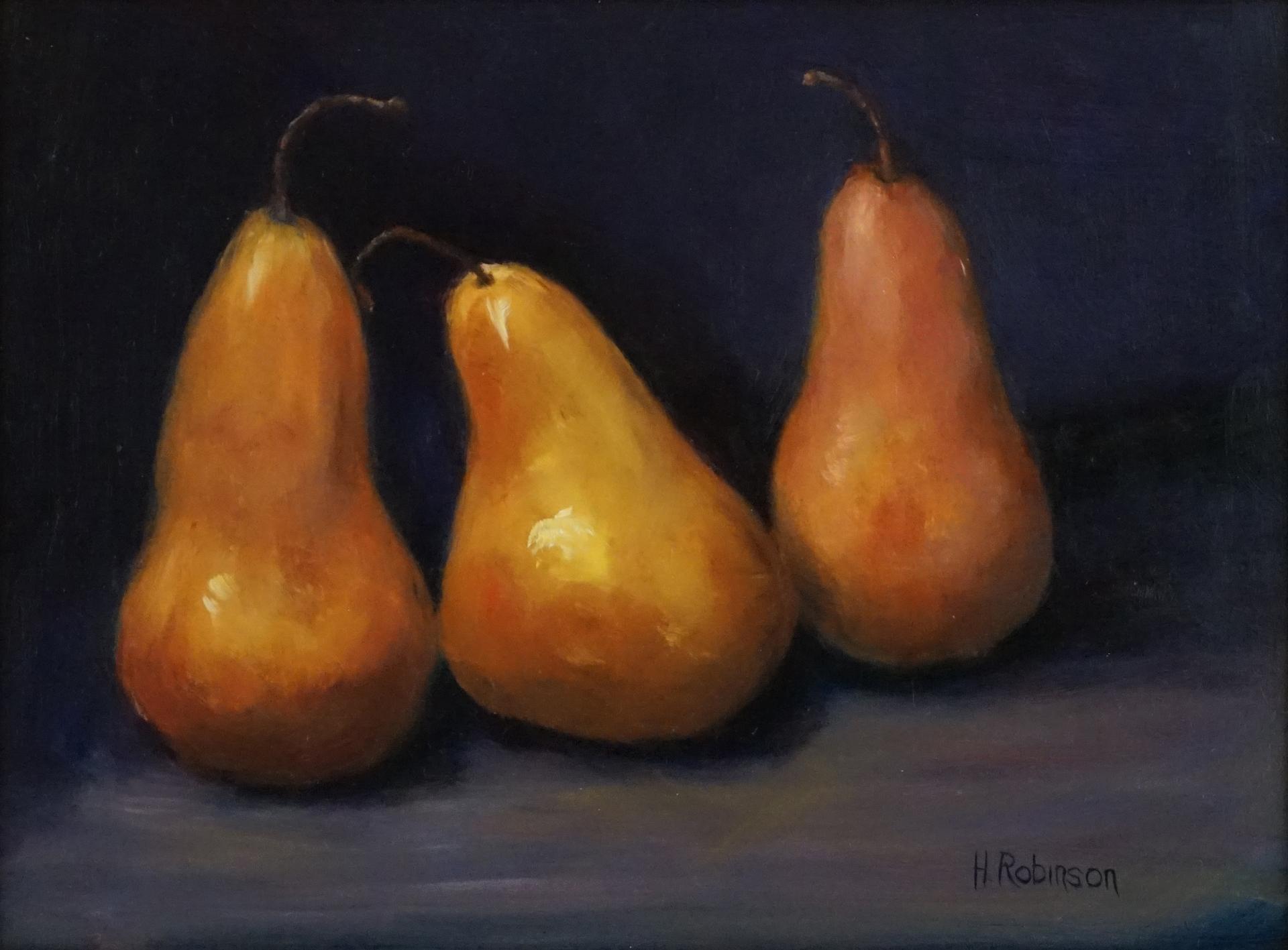 """Three Pears""""  9 x 12 oil"""