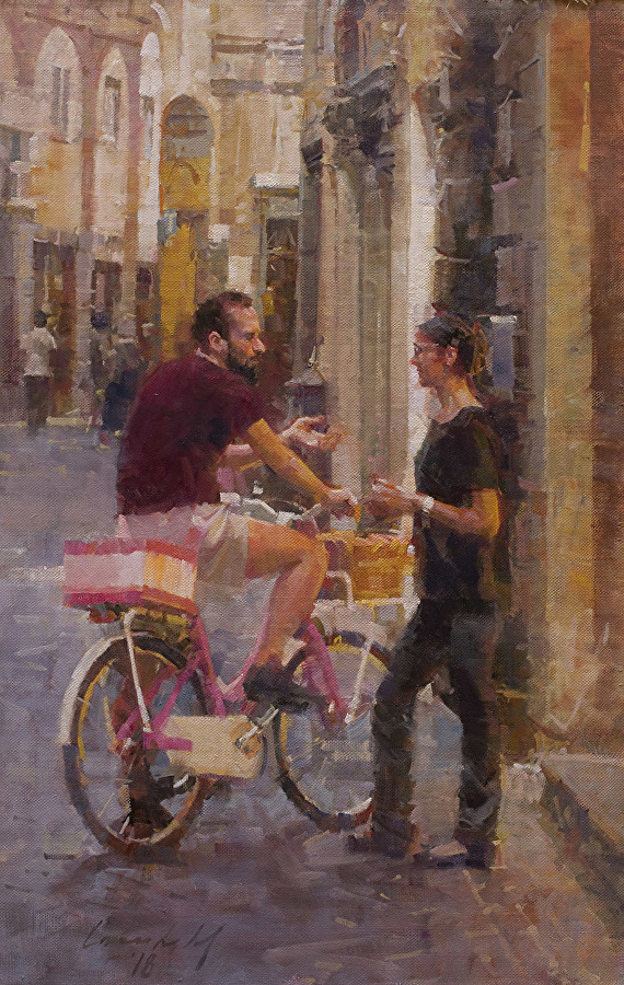 Conversation w/ the Delivery Man  oil  26 x 17