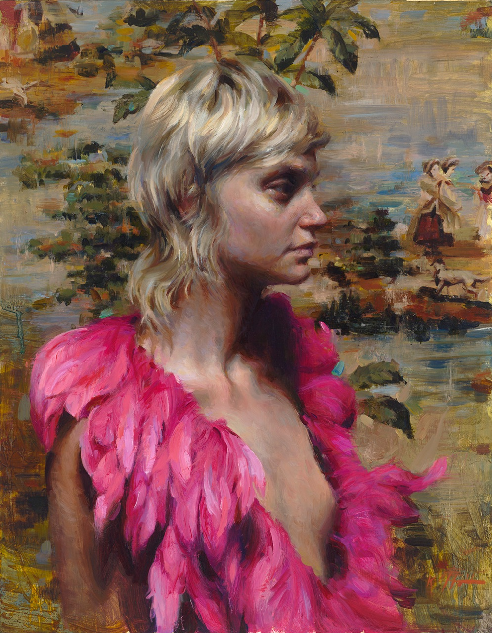Pink Plumes  18 x 14  oil