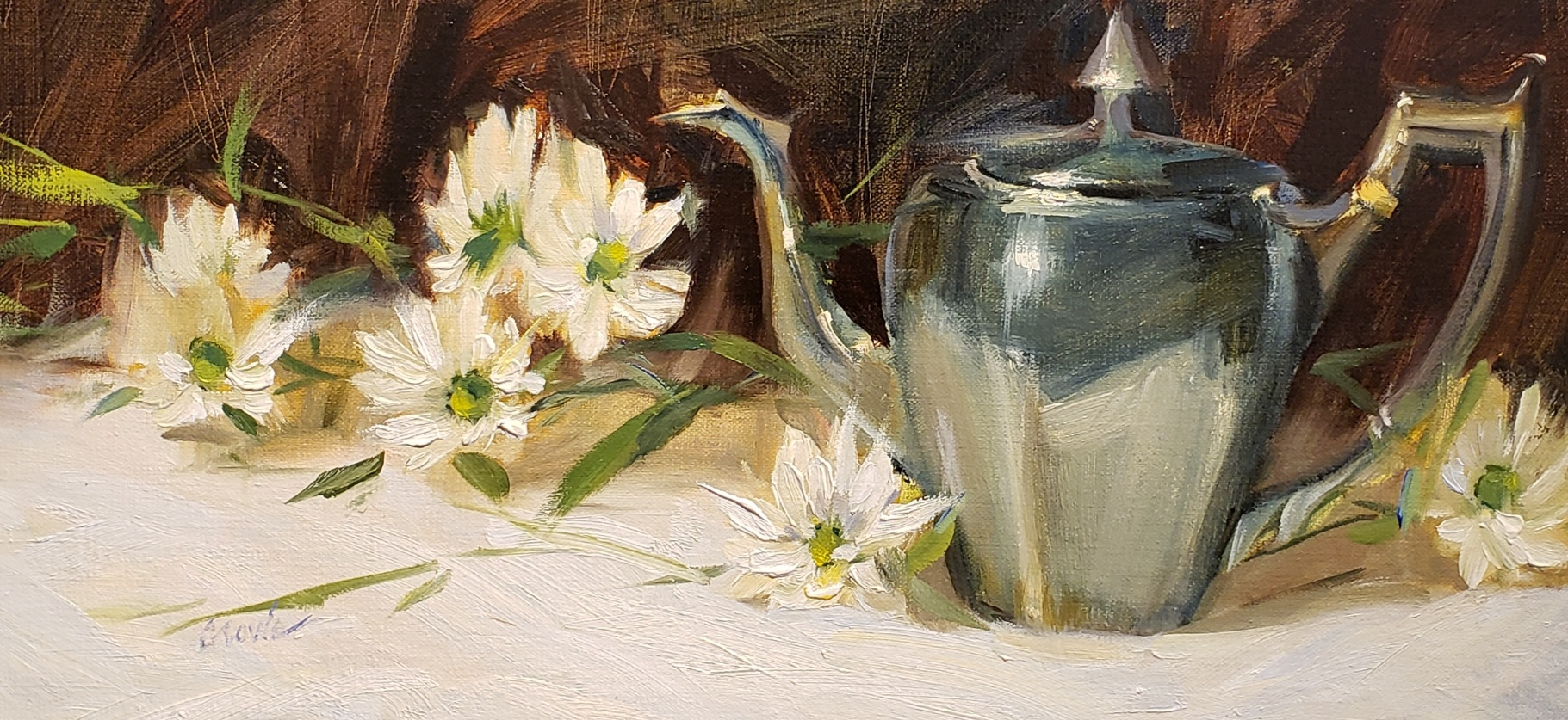 Silver Teapot and Daises  9 x 18  oil