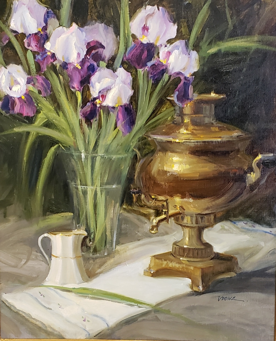 Samovar and Spring Irises  24 x 20  oil