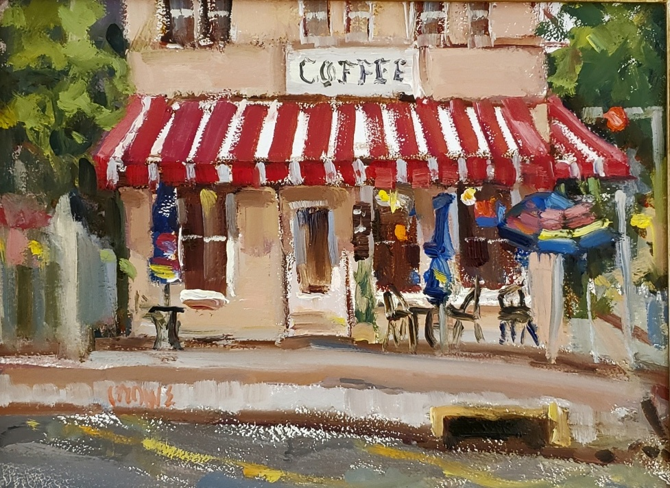 Stop for Coffee-New Braunfels  9x 12 oil