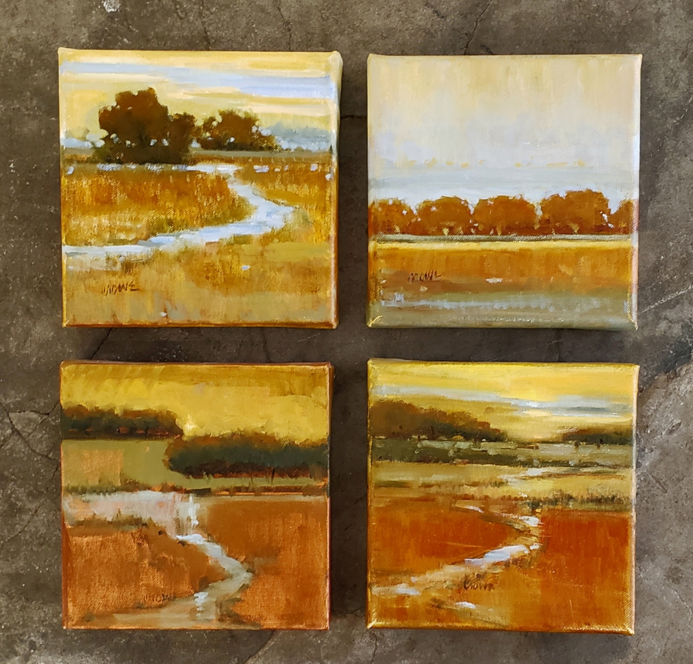 Set of Fur Landscapes  oil   8 x 8