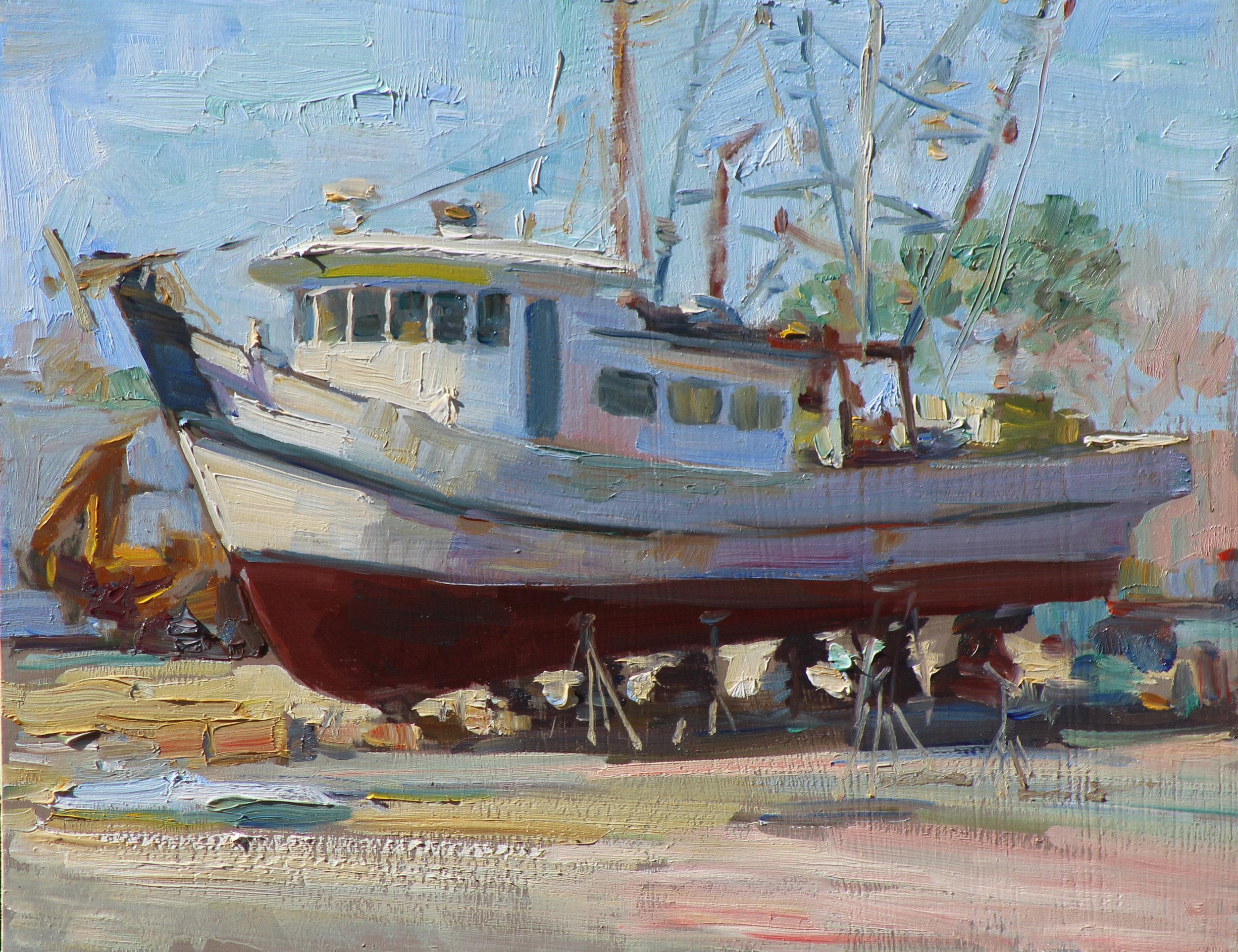Boat Yard  11 x 14 oil