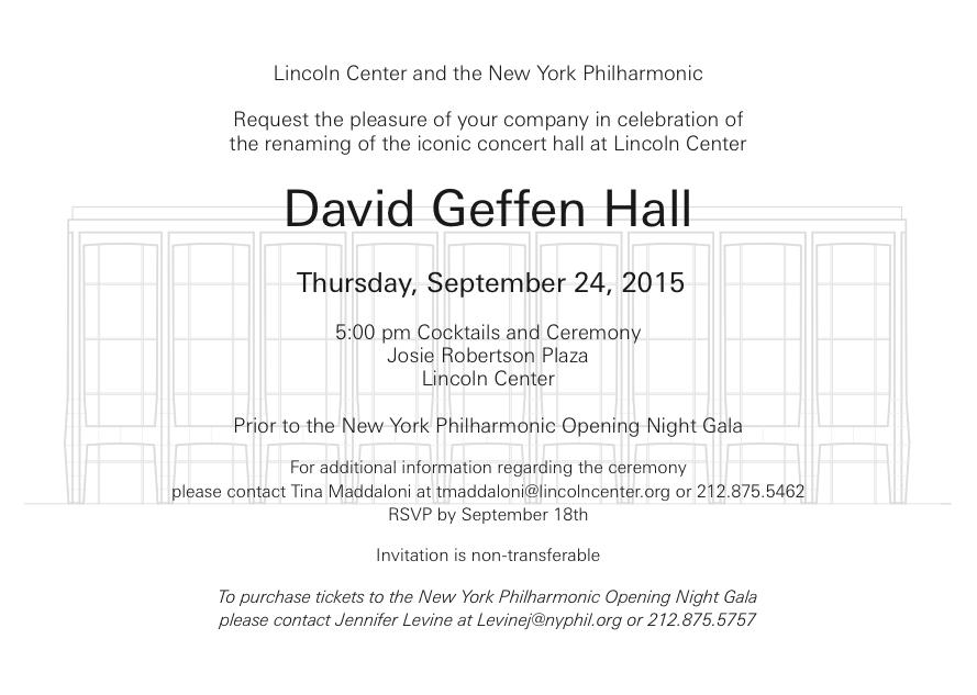 Logistics: Geffen Hall Inauguration