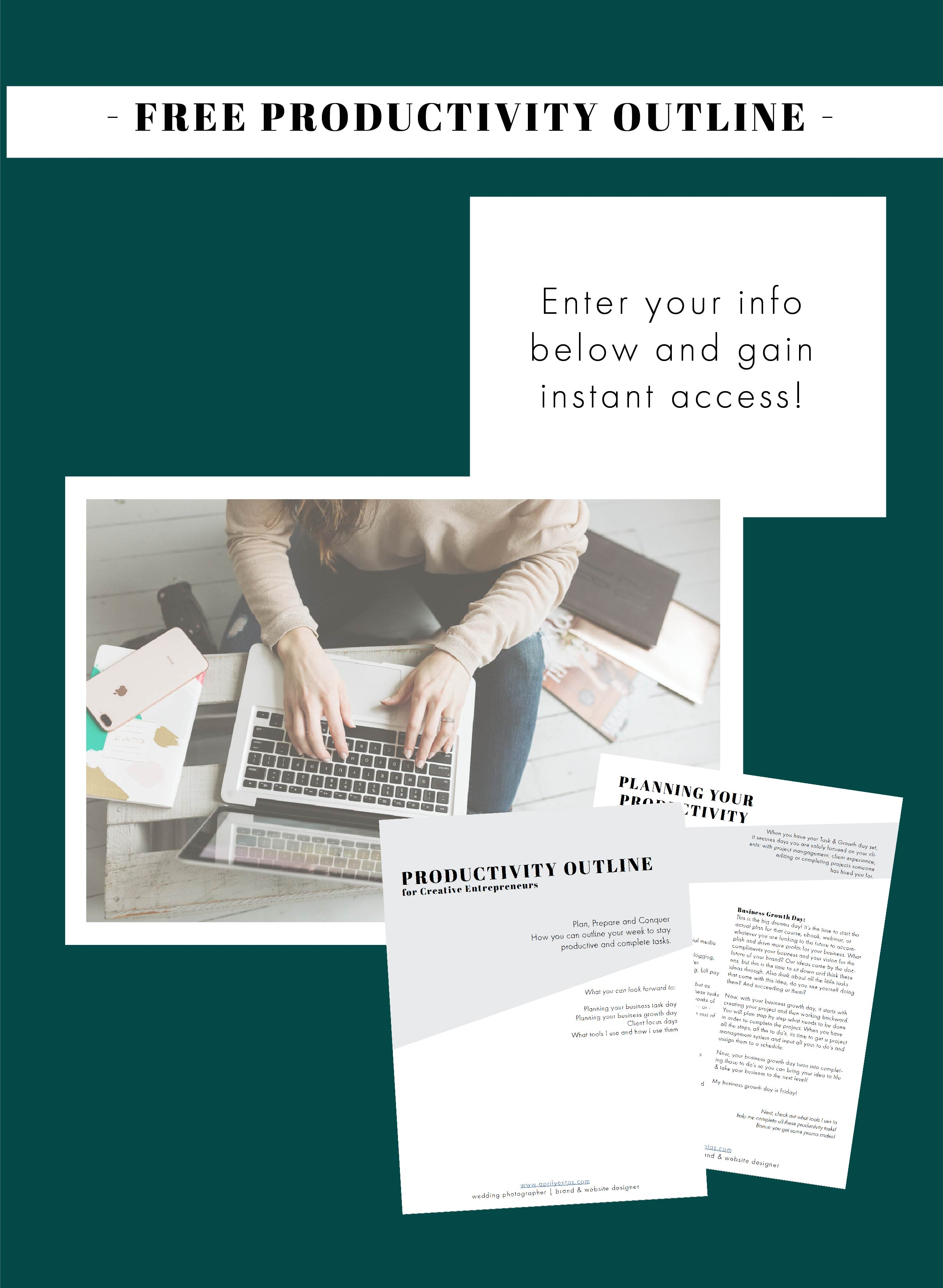productivity outline freebie | tips for entrepreneurs