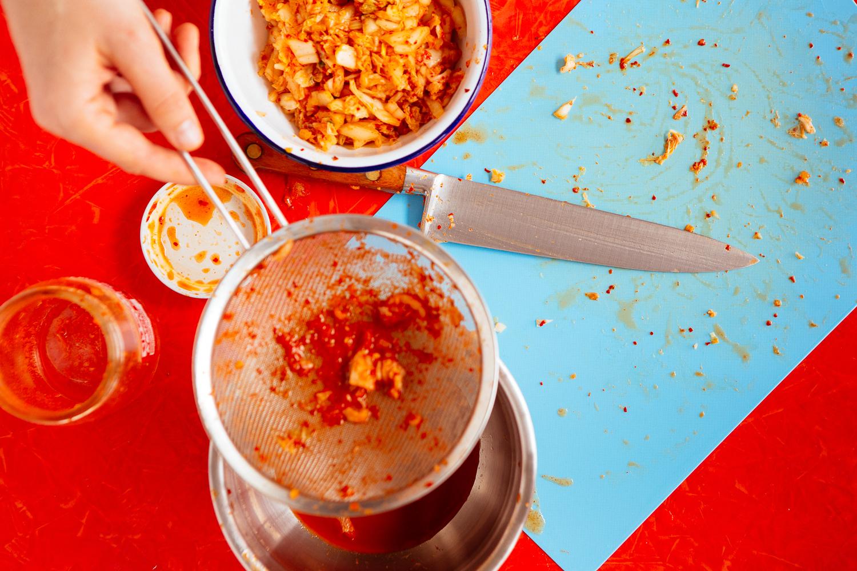 Chopped kimchi for kimchee mandu