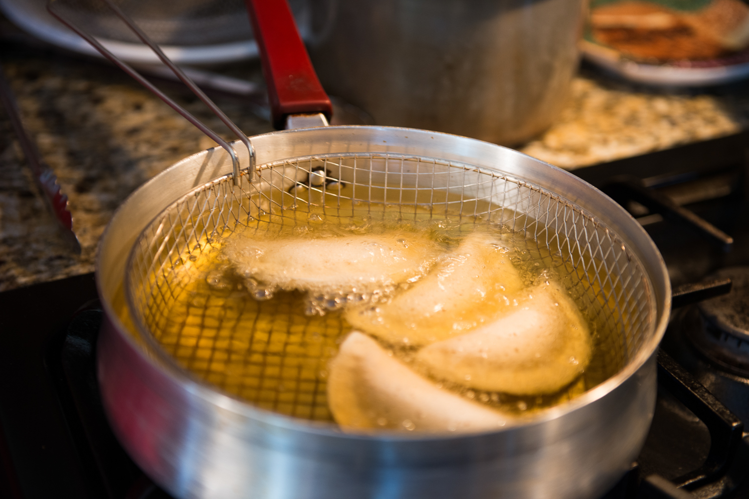 Atayef in the fryer