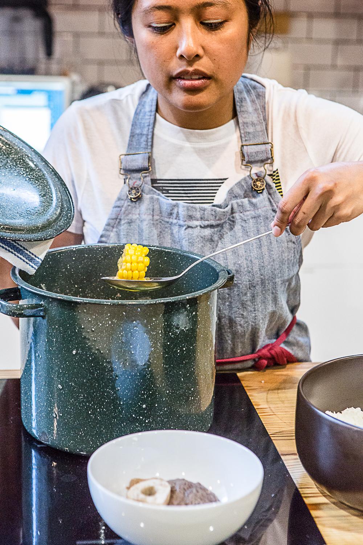 Jenn De La Vega, Brooklyn Chef, making Bulalo