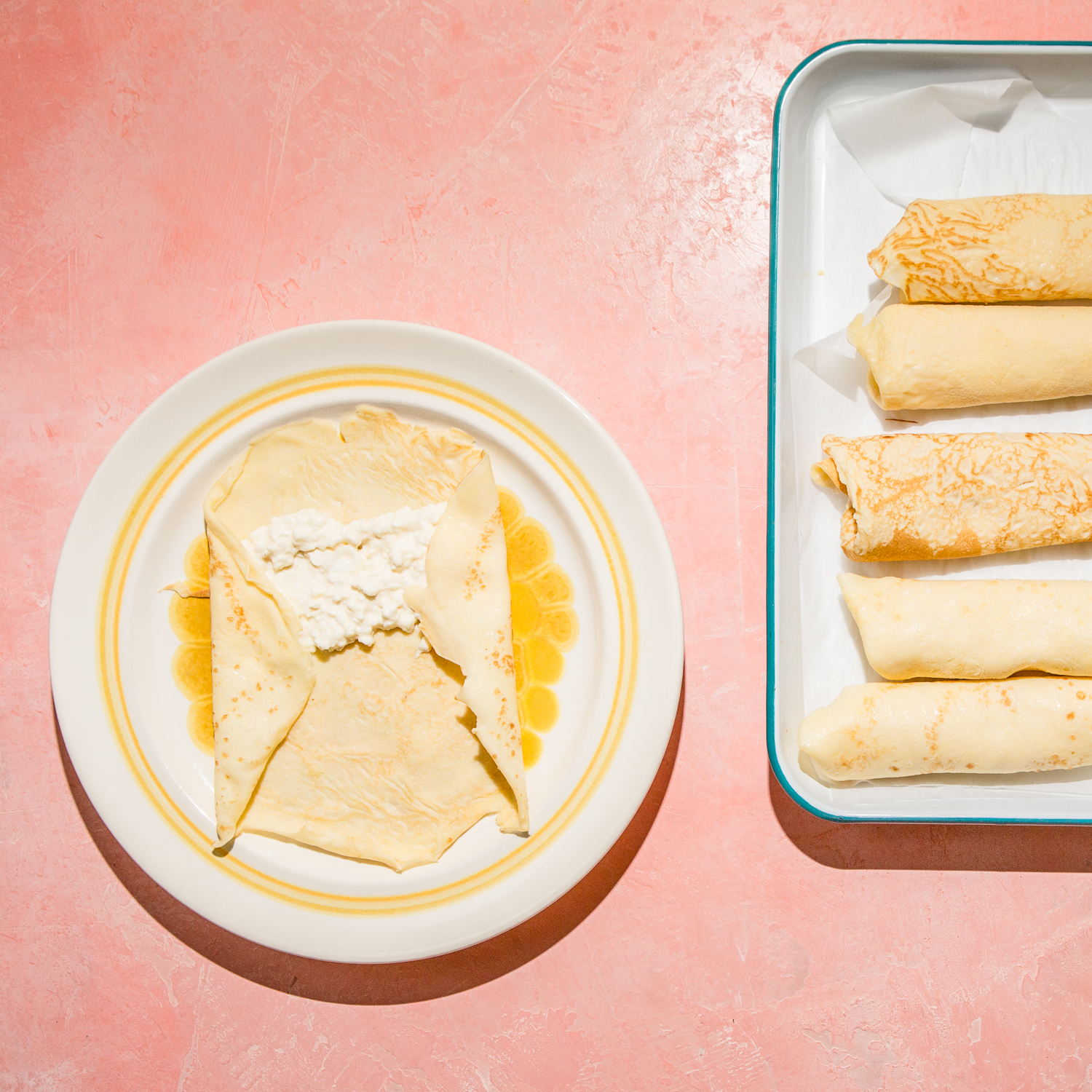 Blintz with Cream Cheese and Farmers Cheese