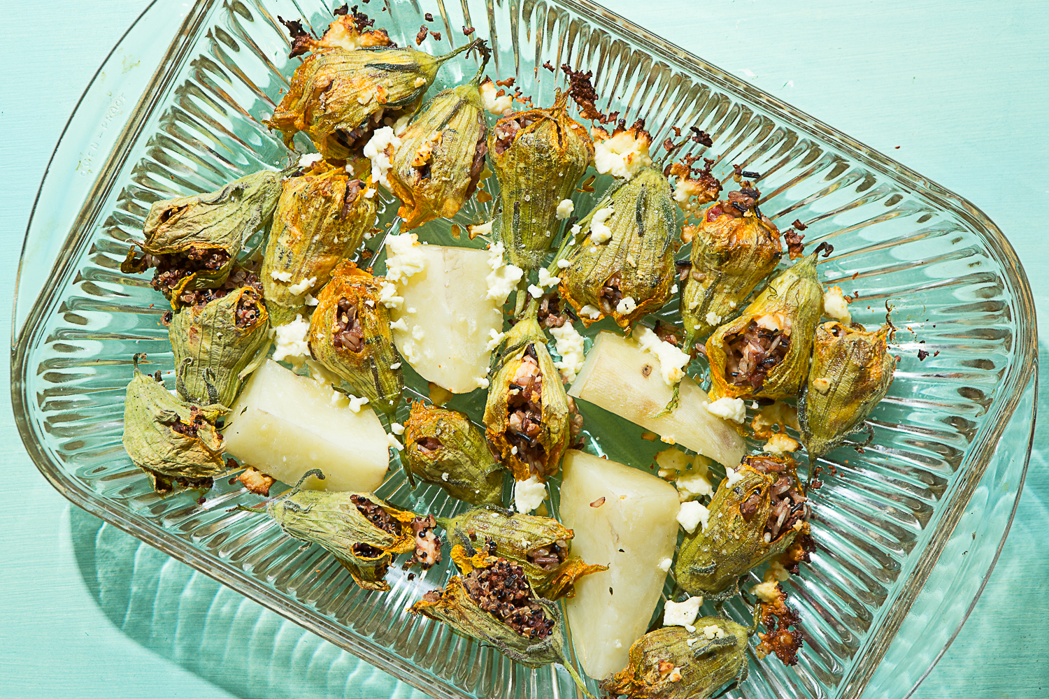Squash Blossoms with Wild Rice and Feta Cheese