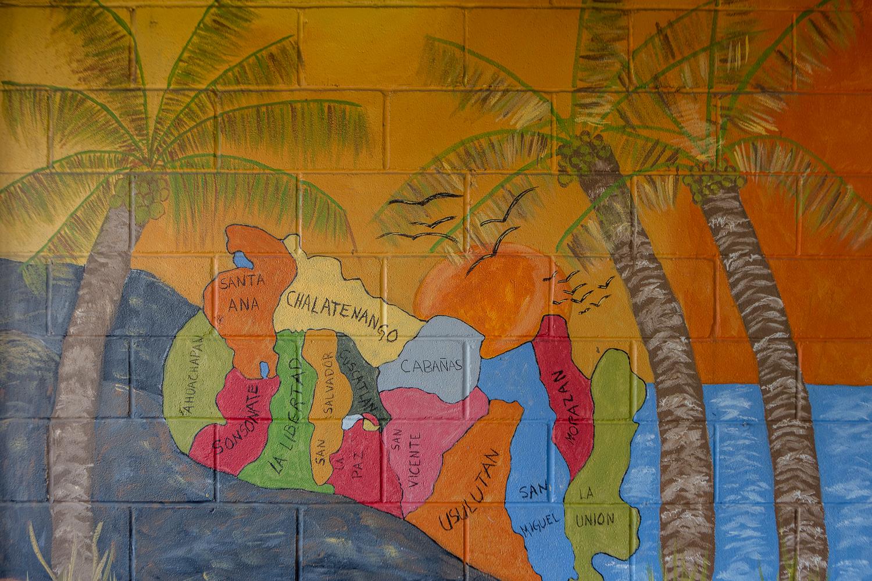 Map of El Salvador at El Sunzal in Austin, TX