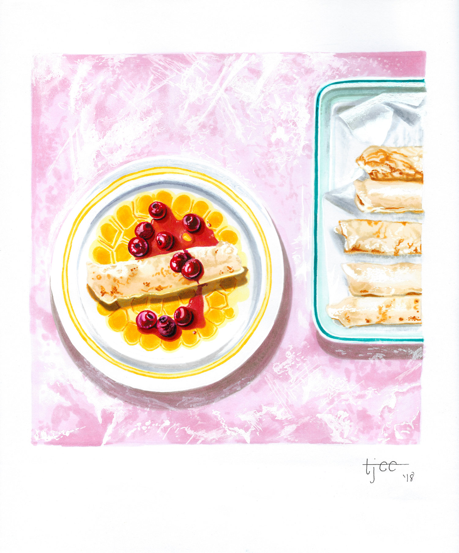 The World In A Pocket's Best of 2018 - Illustration of Cheesecake Blintz by Tabitha Eller