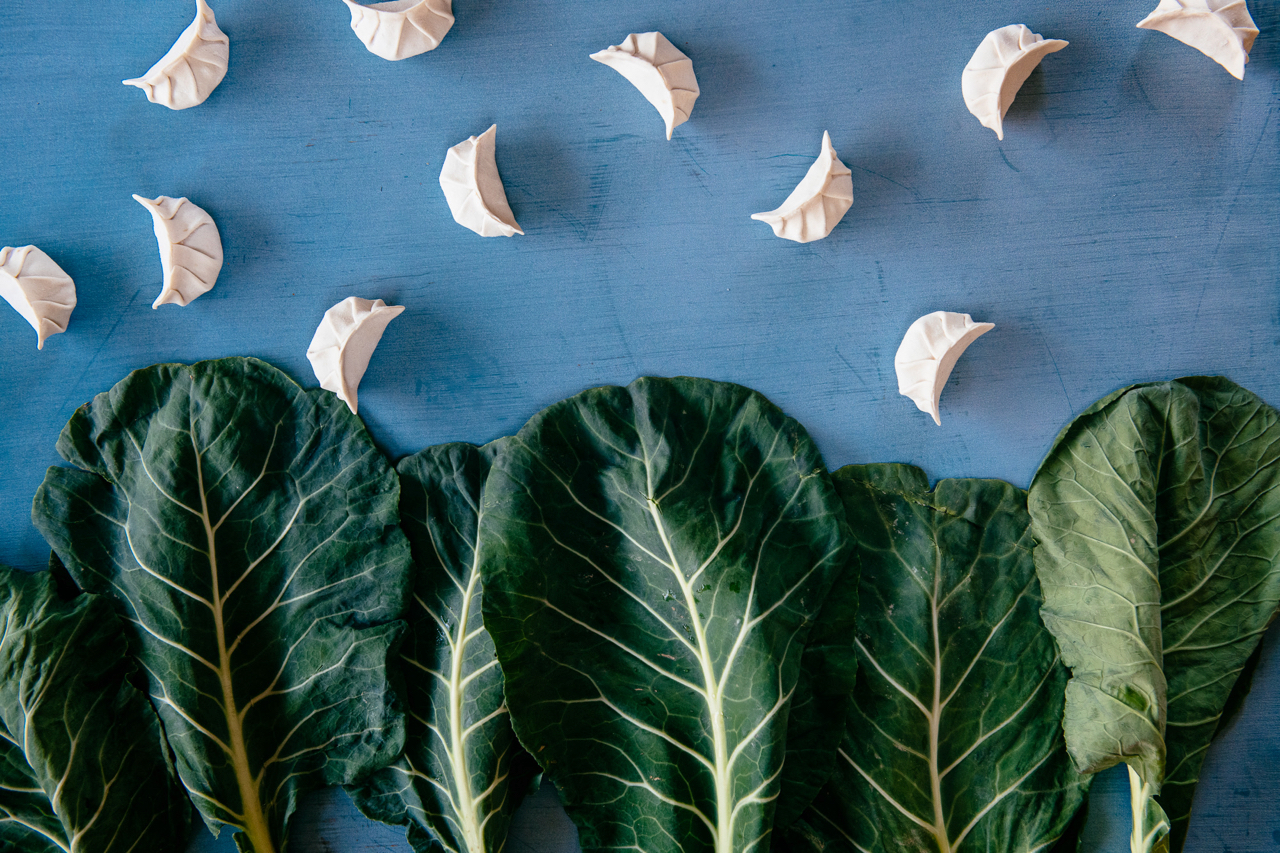Steamies Dumplings and Collard Greens, Photo by Lauren V. Allen and Mackenzie Smith Kelley