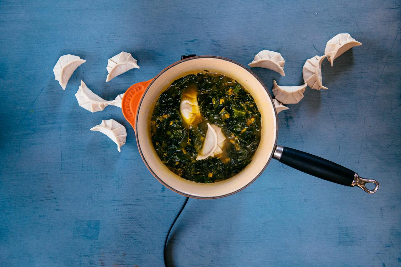 Cooking Frozen Dumplings in Soup, Photo by Lauren V. Allen and Mackenzie Smith Kelley