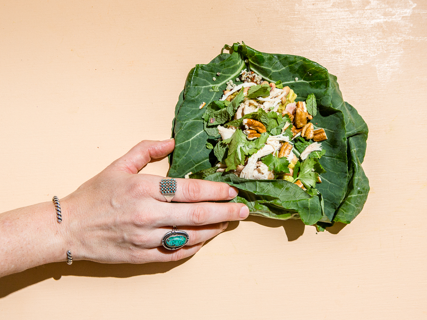 Lucky Collard Wraps with Black-Eyed Peas