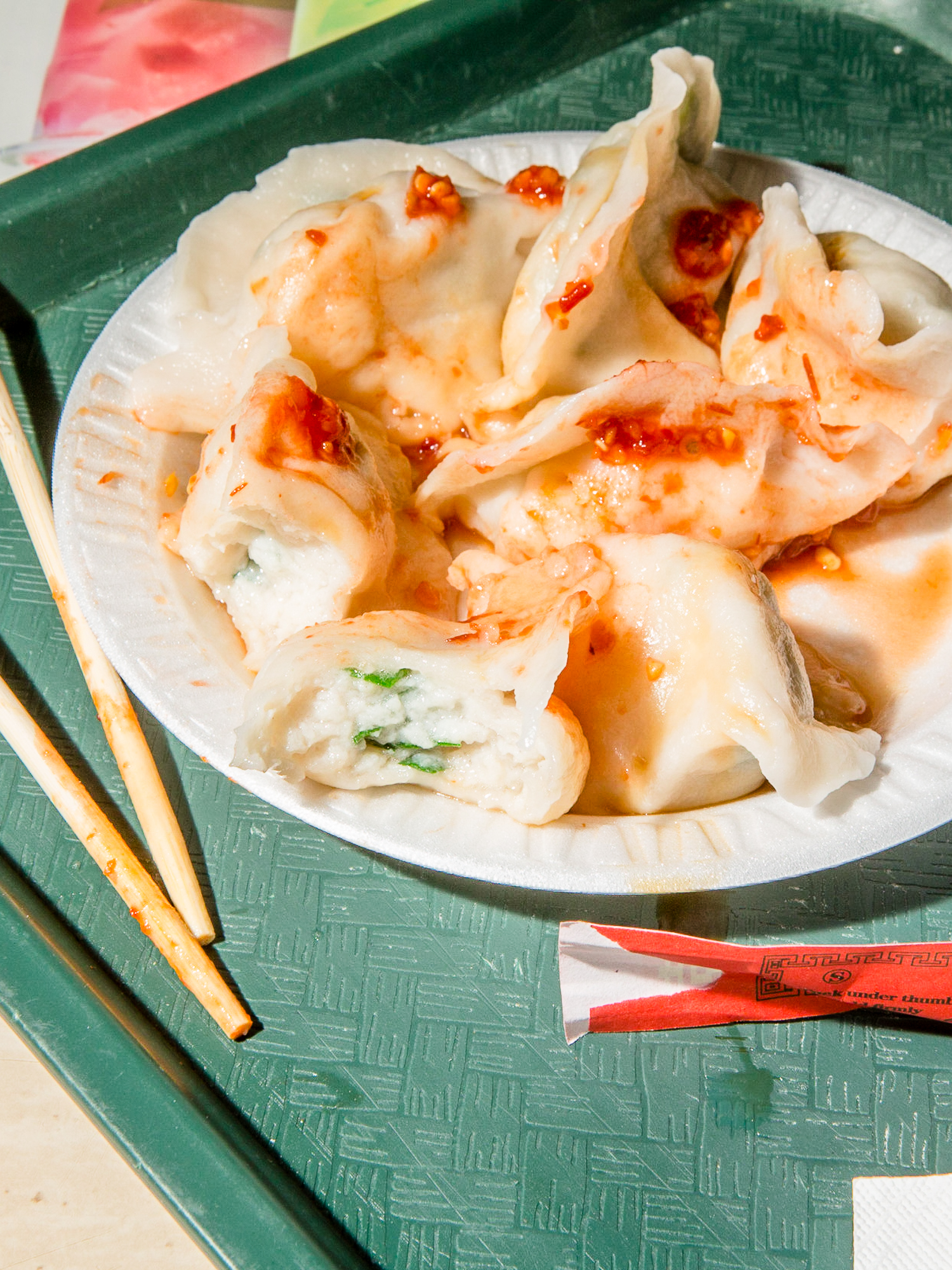 Fish dumplings at New World Mall Food Court in Flushing