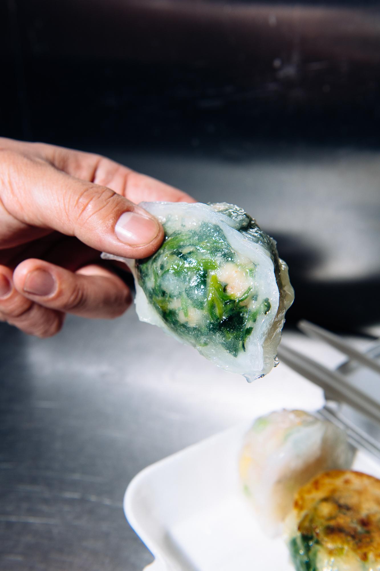 Watercress and shrimp crystal dumplings at Corner 28 in Flushing, Queens