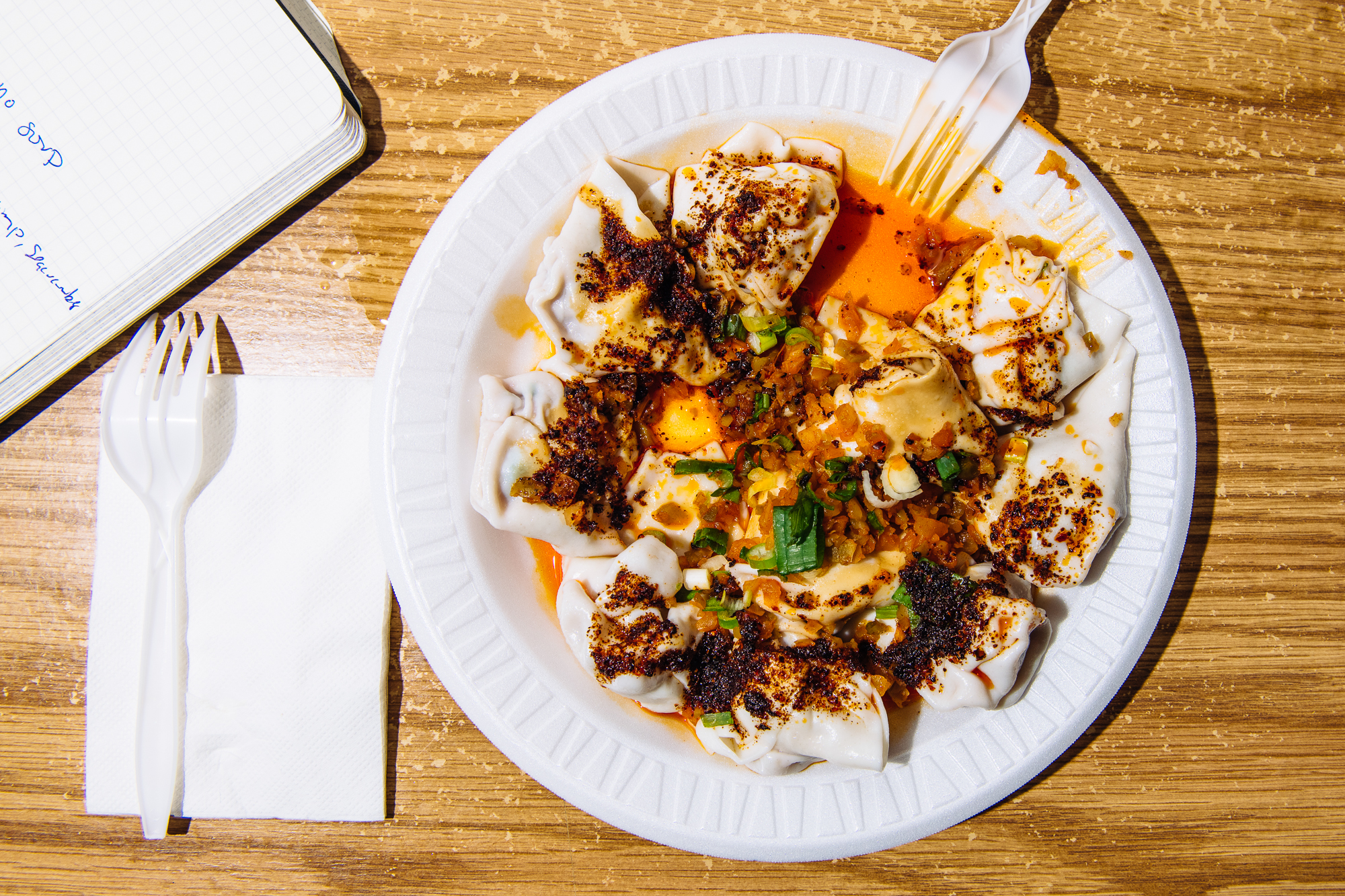 Chili oil wontons, no soup at White Bear in Flushing, Queens