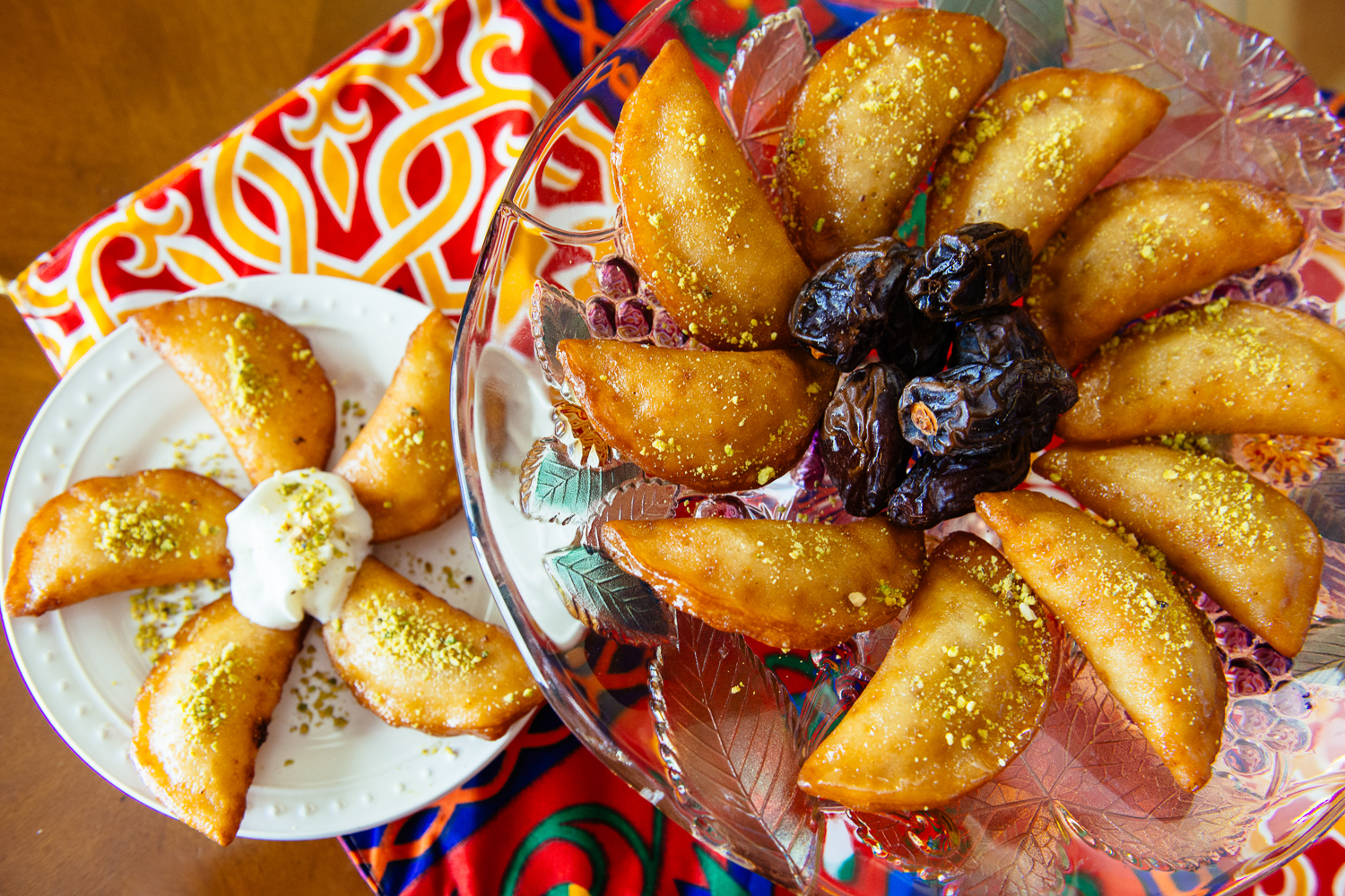 Egyptian Qatayef with Sweetened Cheese, Nuts or Banana Filling