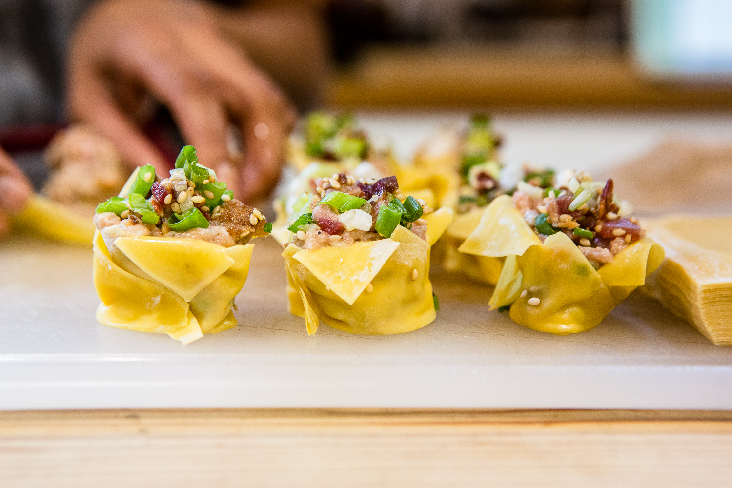 Jenn de la Vega's Steamed Shumai with a Crunchy Sesame Bacon Topping
