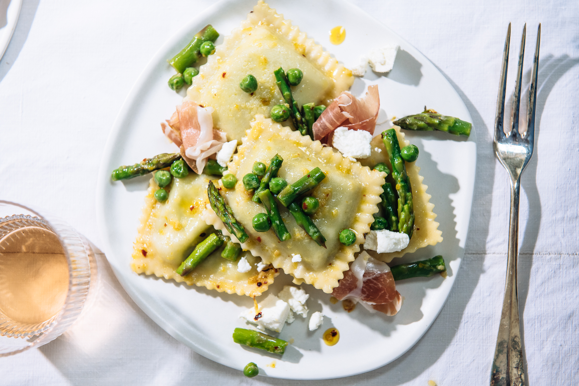 Spring Vegetable & Goat Cheese Ravioli