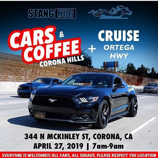 Join @stanghub @theponyaddicts for #carsandcoffeecorona and a cruise down Ortega HWY this Saturday. #mustang #stanghub #theponyaddicts #mustangwheels #mustangupholstery #mustangparts #shelby #gt350 #mustangs4life #mustangcountryinternational #carsandcoffee