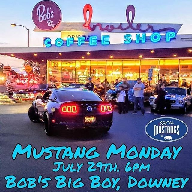 Tomorrow is @socalmustangs monthly meet up @bobsbigboydowney at 6pm. Every last Monday of the month. #socalmustangs #bobsbigboydowney #mustangmondays #mustang #mustangwheels #mustangupholstery #mustangparts #shelby #gt350 #mustangs4life #mustangcountryinternational