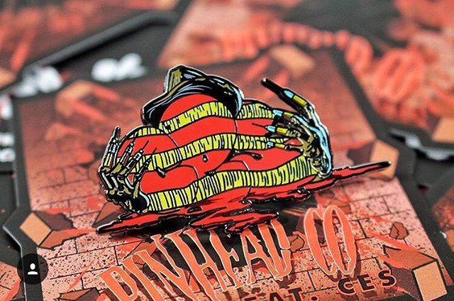 Here's the backing card I designed for @pinheadcompany for an amazing pin design by @wish4ces. Design 1/2. These drop on pinheadco.com this Friday!! #art #arte #artlife #artwork #work #artistic #horror #graphicdesign #vector #design #designer #illustrator #illustration #packaging #pin #pingame #pins #enamelpin #ces