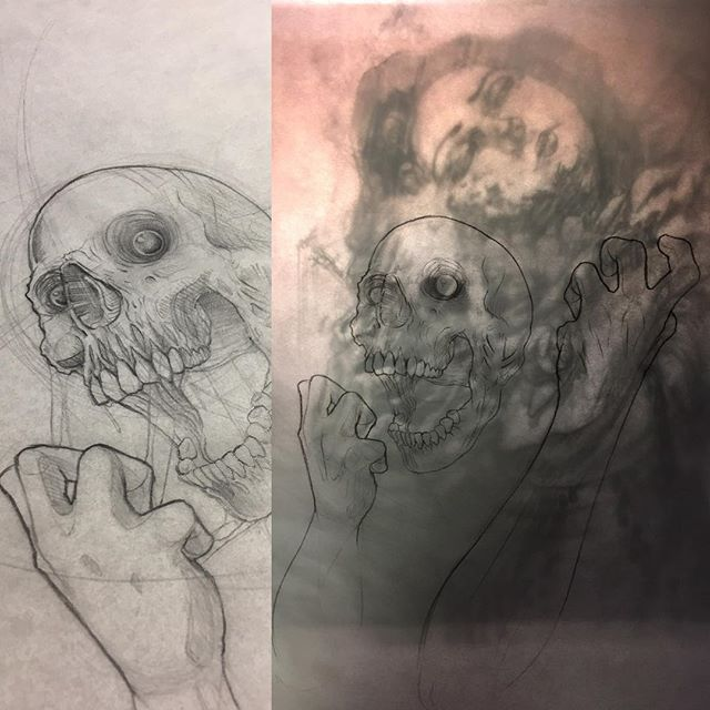 Extremely excited to start up my first artist collaboration of the year. Who better than my good friend @dirtyoldroshi . Lots of sketching and exploring here. Stay tuned! #art #arte #artlife #artist #artwork #collab #artist #collaboration #drawing #sketch #sketching #graphite #skull #faces #workinprogress #mess #graphite #draw #doodling #darkart