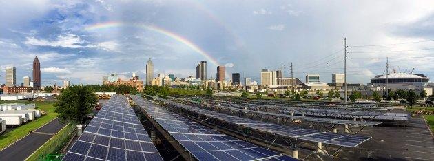Solar carports at Mercedes-Benz Stadium. CREDIT: Quest Renewables