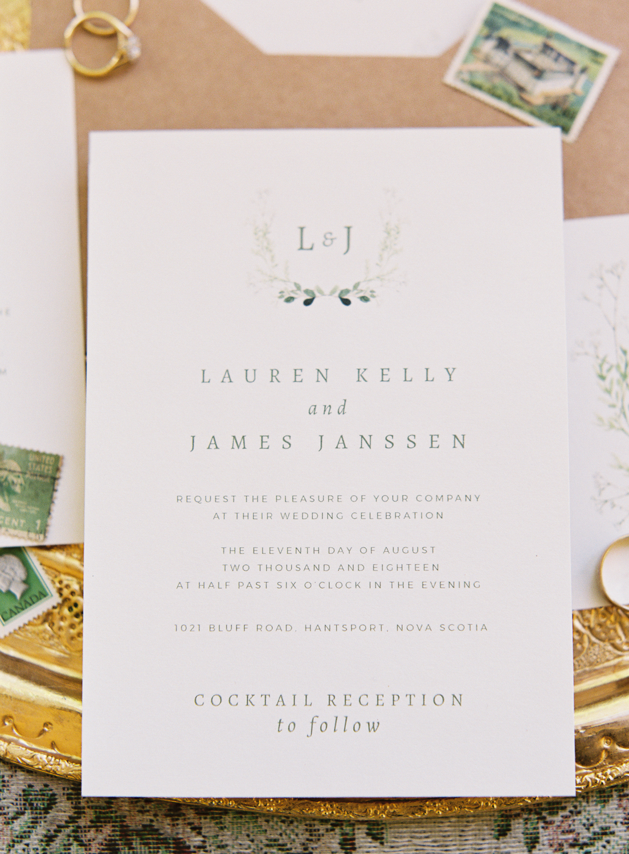 Halifax Wedding Photographer, Image of Wedding invitation, Captured on Film, Fuji400h, Nova Scotia Wedding Photographer, Jacqueline Anne Photography