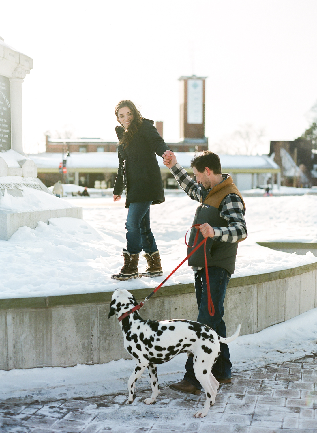 Halifax Wedding Photographer, winter engagement session, Truro Nova Scotia, Canadian Engagement Session, Jacqueline Anne Photography, Dog in engagement session, Film Engagement Session