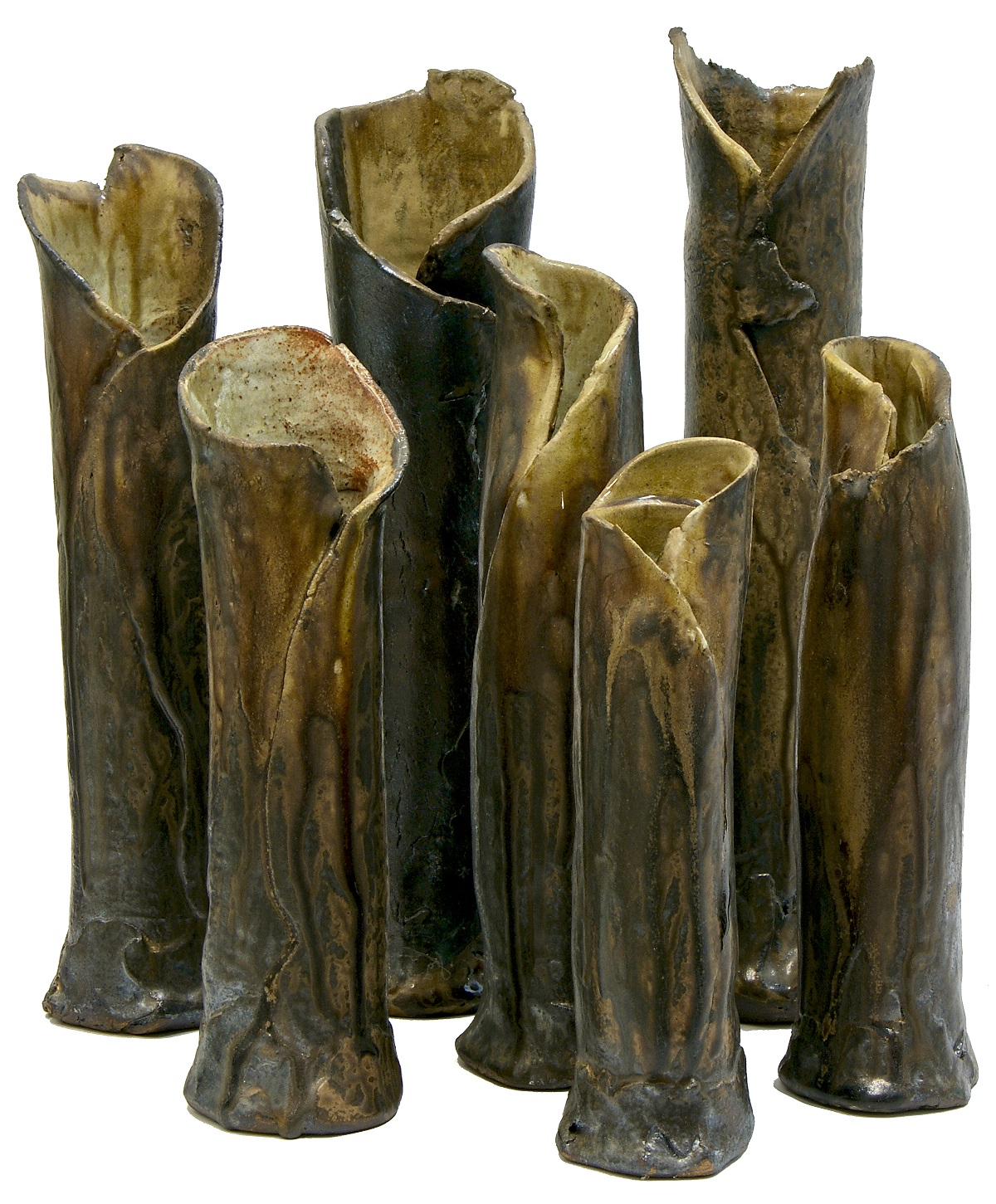 Milton Moon, After The Burning, folded vases, stoneware, ash glaze, tallest 35cm, 2014. Photo courtesy of Aptos Cruz Galleries.jpg