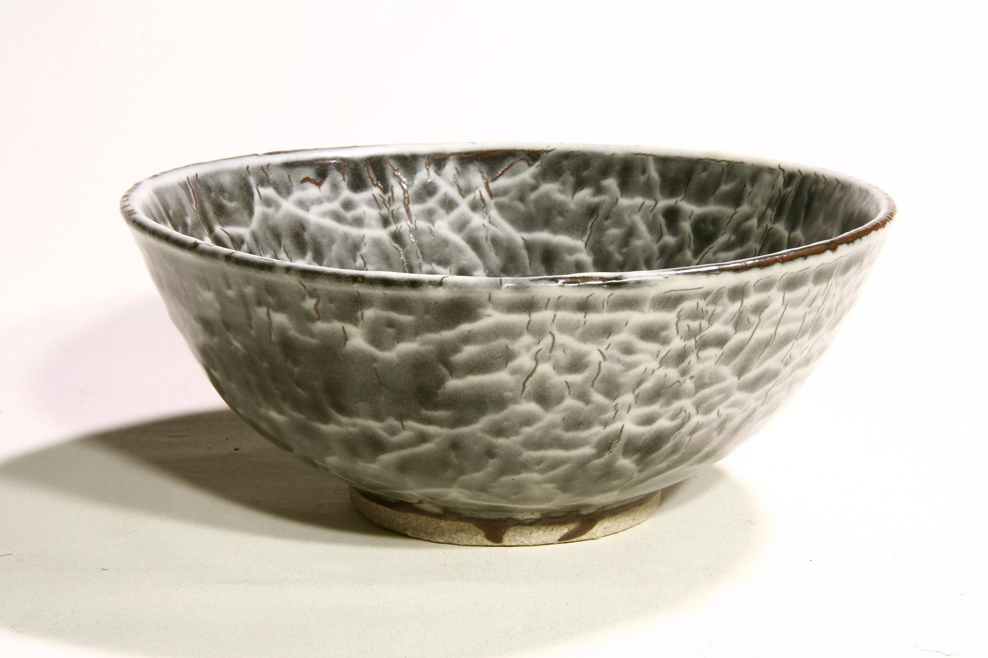 Owen Rye, Bowl, stoneware, white pattern on temmoku glaze, dia 22cm.JPG