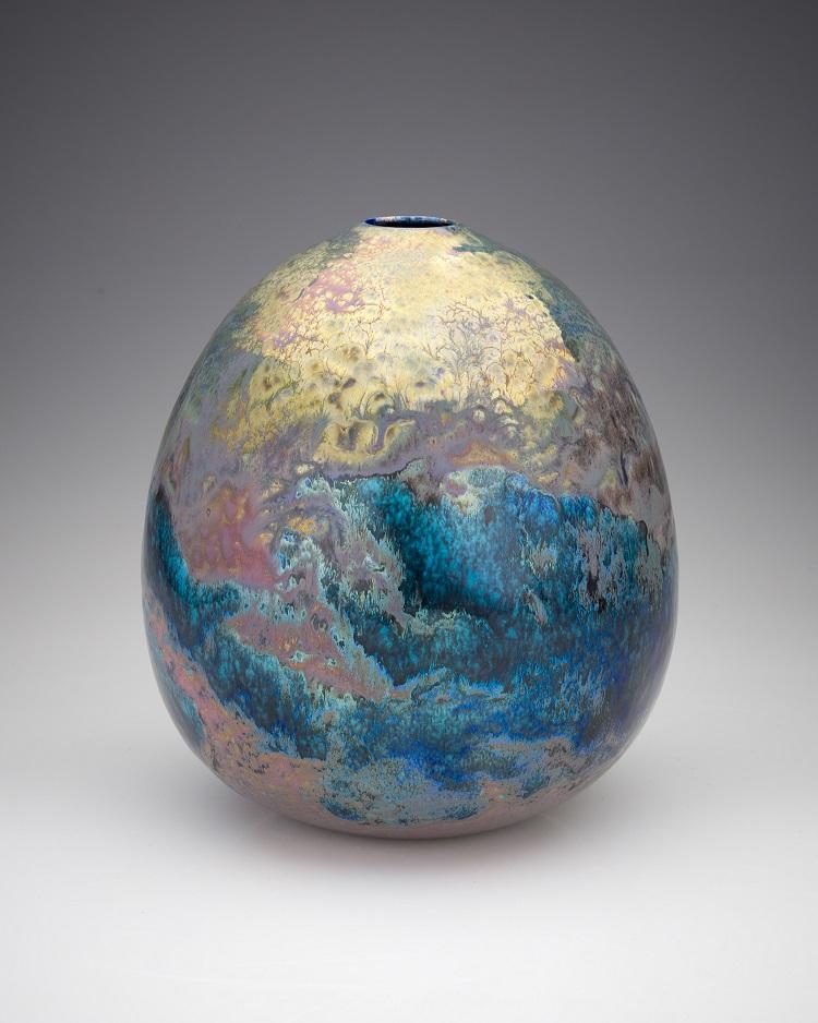 Greg Daly, Golden Storm, lustre glazed ceramic vase, 210 mmH x 165 mmD.jpg