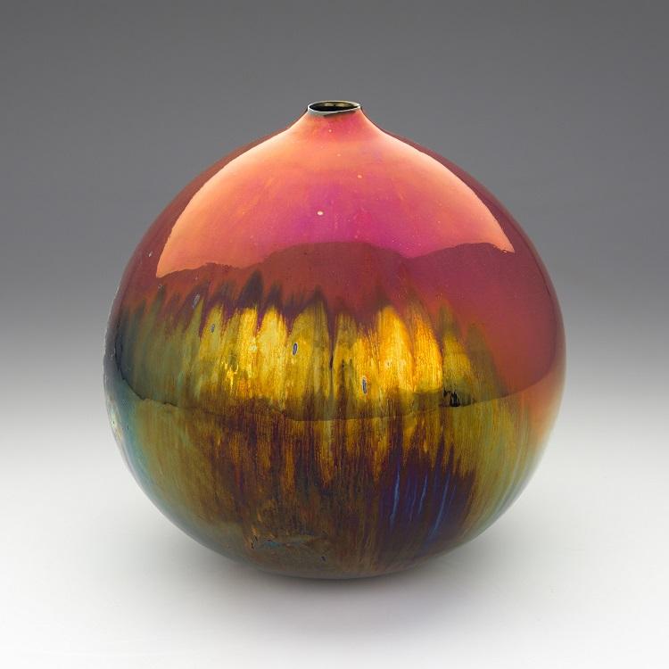 Greg Daly, Red Sunset, lustre glazed ceramic vase, 260 mmH x 240 mmD.jpg