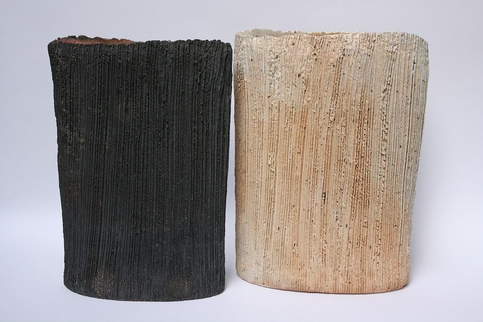 Su Hanna, Summer in Victoria, Charcoal & Dust, stoneware, felspathic glazes, wood fired, Dust H29 x W22 x D10cm, Charcoal H28 x W20 x D10cm, 2015.JPG