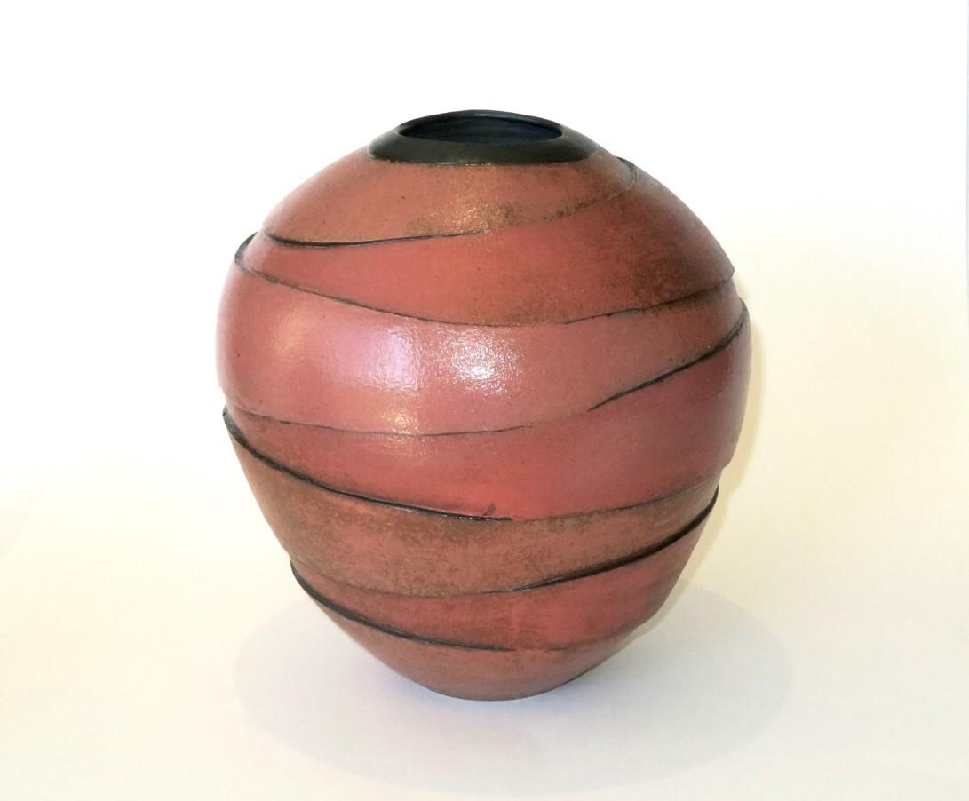 Terunobu Hirata,  Red Vase,  stoneware, underglaze, clear glaze, H24.5cm, 2017 SOLD