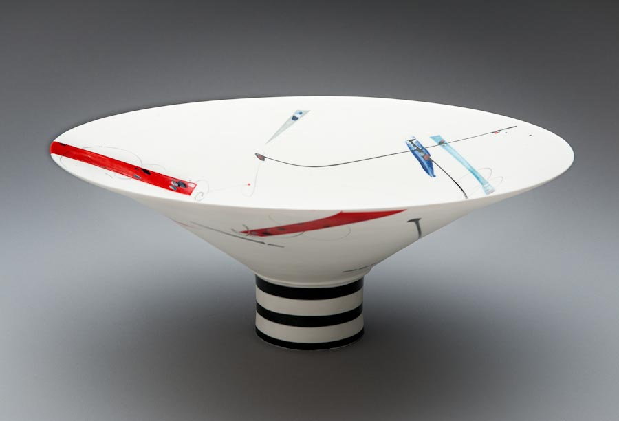 Porcelain open bowl form on narrow base, Victor Greenaway .jpg