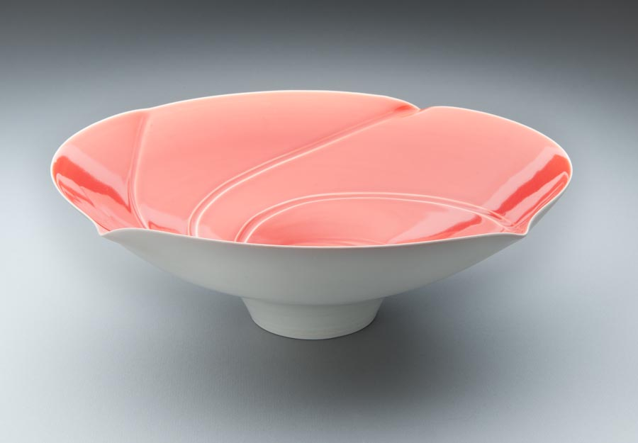 Porcelain spiral lipped bowl form. 360x120mm. 2009.jpg